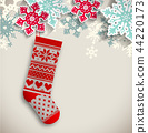 knitted christmas stocking, illustration 44220173