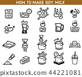 how to made soybean milk icon.  44221081