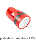 Red plastic pocket flashlight on white background. 44221354