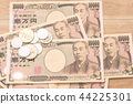 Japanese yen banknotes and Japanese yen coin 44225301