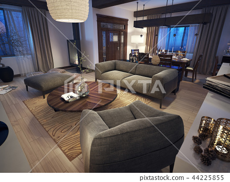 Lounge room in rustic style 44225855