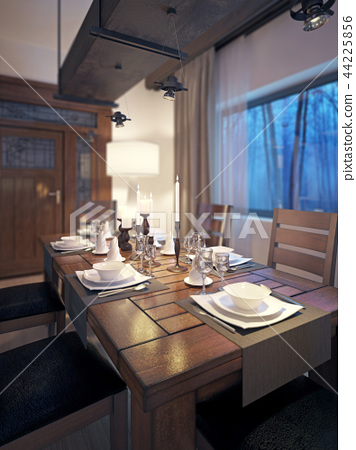 Dining room, rustic and modern style 44225856