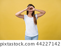Healthy Eyes And Vision. Portrait Of Beautiful Happy Woman Holding Heart Shaped Hands Near Eyes 44227142