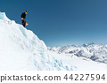 Mountain guide candidate training ice axe and rope skills on a glacier in the North Caucasus 44227594