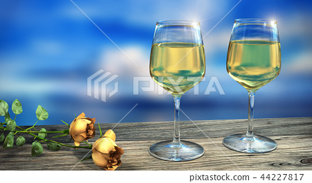Two wine glasses filled with wine in daylight 44227817