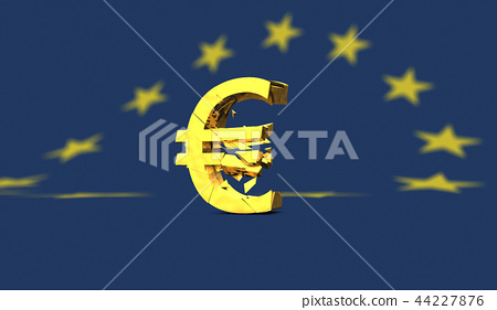 Yellow broken euro sign or symbol on european flag 44227876