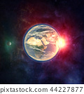 Planet earth from outer space with moon 44227877