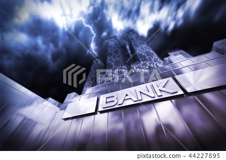 Financial institute in thunderstorm and storm 44227895