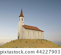 Old stone church on a hill 44227903