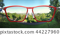 3D Illustration of clear vision through glasses 44227960