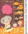 Grandmother and kids bake together at a kitchen 44228870