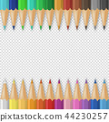 Vector background with realistic 3D wooden colorful colored pencils or crayons on transparency grid 44230257