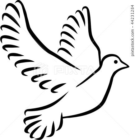 Dove silhouette drawn - Stock Illustration [44231284] - PIXTA