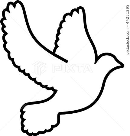 Outline symbol dove 44231295