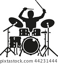 Drum kit with drummer in action 44231444