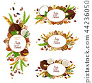 Nuts and beans icons with vegetarian food harvest 44236050