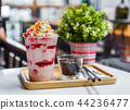 strawberry frappe with whipped cream 44236477