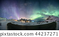 Aurora borealis with starry over mountain range 44237271
