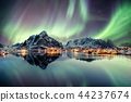 Aurora borealis dancing on mountain 44237674