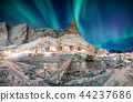 Landscape of snowy mountain with aurora borealis 44237686