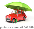 Red car under umbrella 44240206