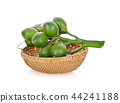 bunch of betel nuts in bamboo basket on white 44241188