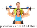 Smiling couple doing weight lifting exercise 44241643