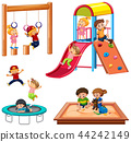 Set of children playing playground equipment 44242149