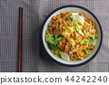 Top View of Fried instant noodles in Bowl. 44242240