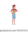 Florist girl with bouquet of beautiful flowers. Cute young woman in blue apron. Flat vector design 44243141