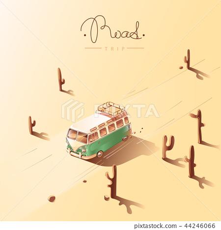 Road trip by retro van. Vector illustration. 44246066
