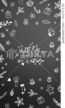 Mobile phone background with Christmas doodles on 44247118
