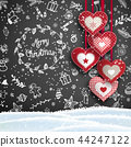 Christmas background with white doodles and hearts 44247122