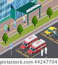 isometric, hospital, design 44247704