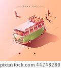 Road trip by retro van. Vector illustration. 44248289