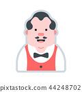 Avatar bartender man flat illustration 44248702