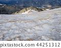 Mountain village in snow 44251312