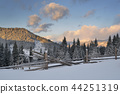 Winter landscape with a fence 44251319