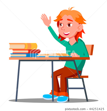 Schoolboy Pulls His Hand To Answer A Lesson Vector. School. Isolated Illustration 44251425