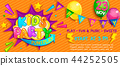 Wide Super Banner for kids party in cartoon style. 44252505