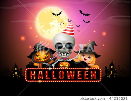 halloween night full moon party fancy sign 44253021