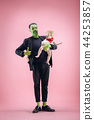 Halloween Family. Happy Father and Children Girl in Halloween Costume and Makeup 44253857