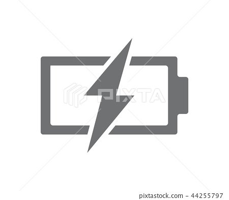 Vector power battery with lightning bolt icon. Fully discharged accumulator symbol and sign 44255797