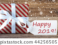 Present With Snowflakes, Text Happy 2019 44256505