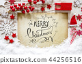 Red Decoration, Snow, Calligraphy Merry Christmas 44256516