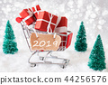 Trolly With Christmas Gifts And Snow, Text 2019 44256576
