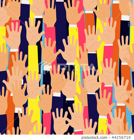 Raised up hands. Seamless background. Education 44256719