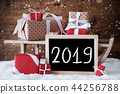 Sleigh With Red Gifts, Snow, Snowflakes, Text 2019 44256788