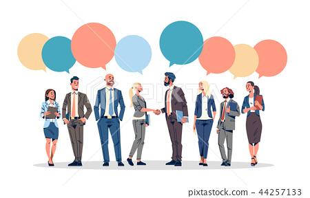 business people group chat bubble communication concept businessmen women speech relationship male 44257133