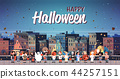 kids wearing monsters costumes walking night town holiday concept cityscape background tricks or 44257151